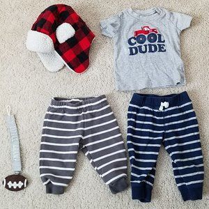 Baby Boy Size 9 Months Lot of 5 Top Pants Winter +